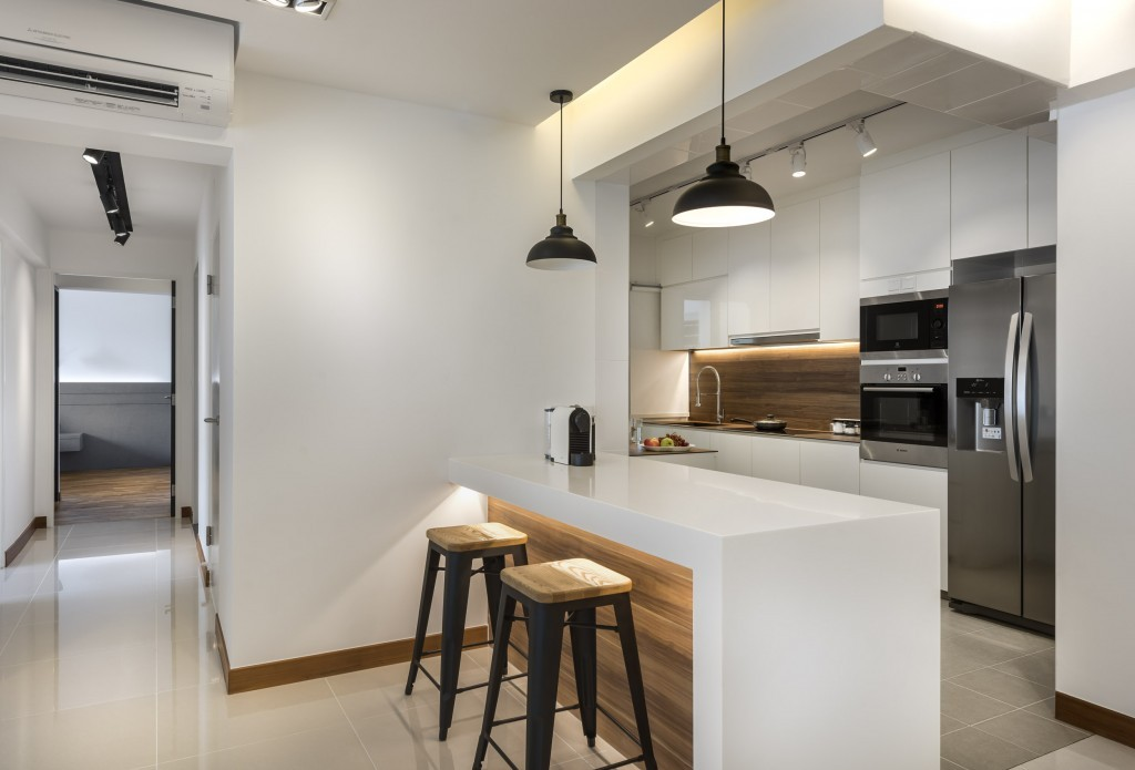 Kitchen interior in Punggol Waterway Woodcress
