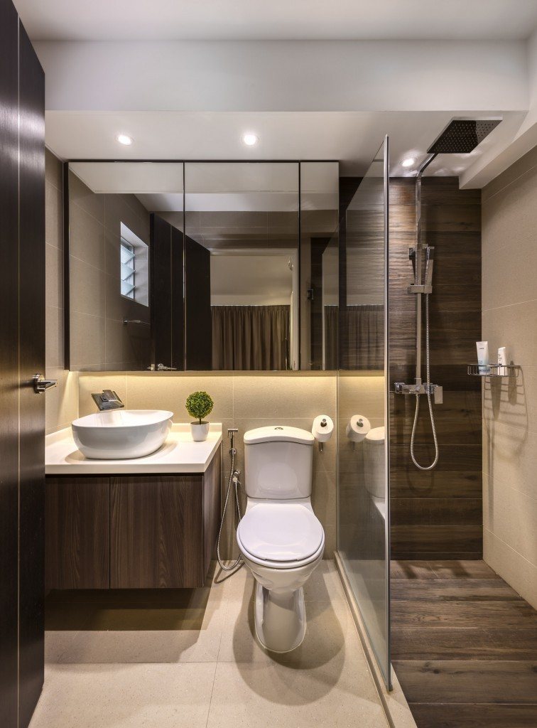 Rezt relax interior 5 room hdb at punggol waterway for Bathroom designs singapore