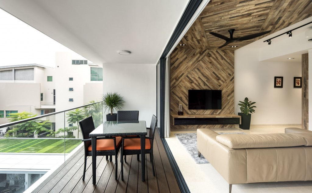 Rezt relax interior condo at uber 388 singapore home for Condo balcony design