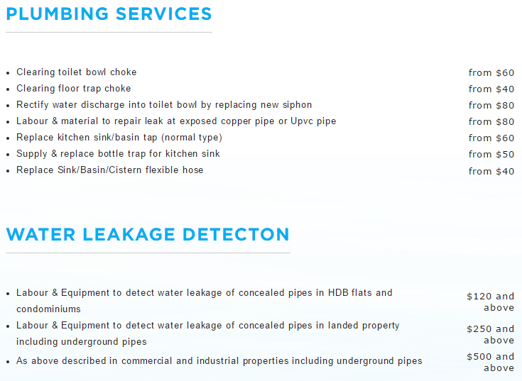 services list plumbing price reviews